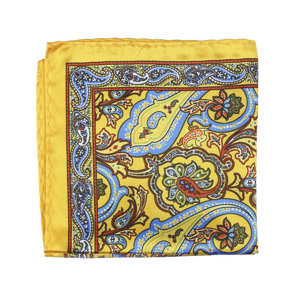 pañuelo seda paisley amarillo