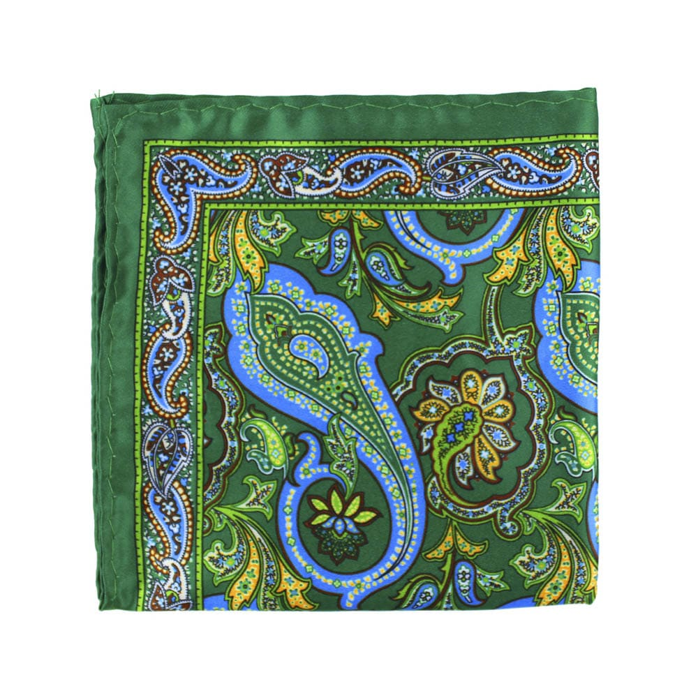 pañuelo seda paisley verde medio