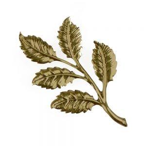 rama 5 hojas grande oro viejo