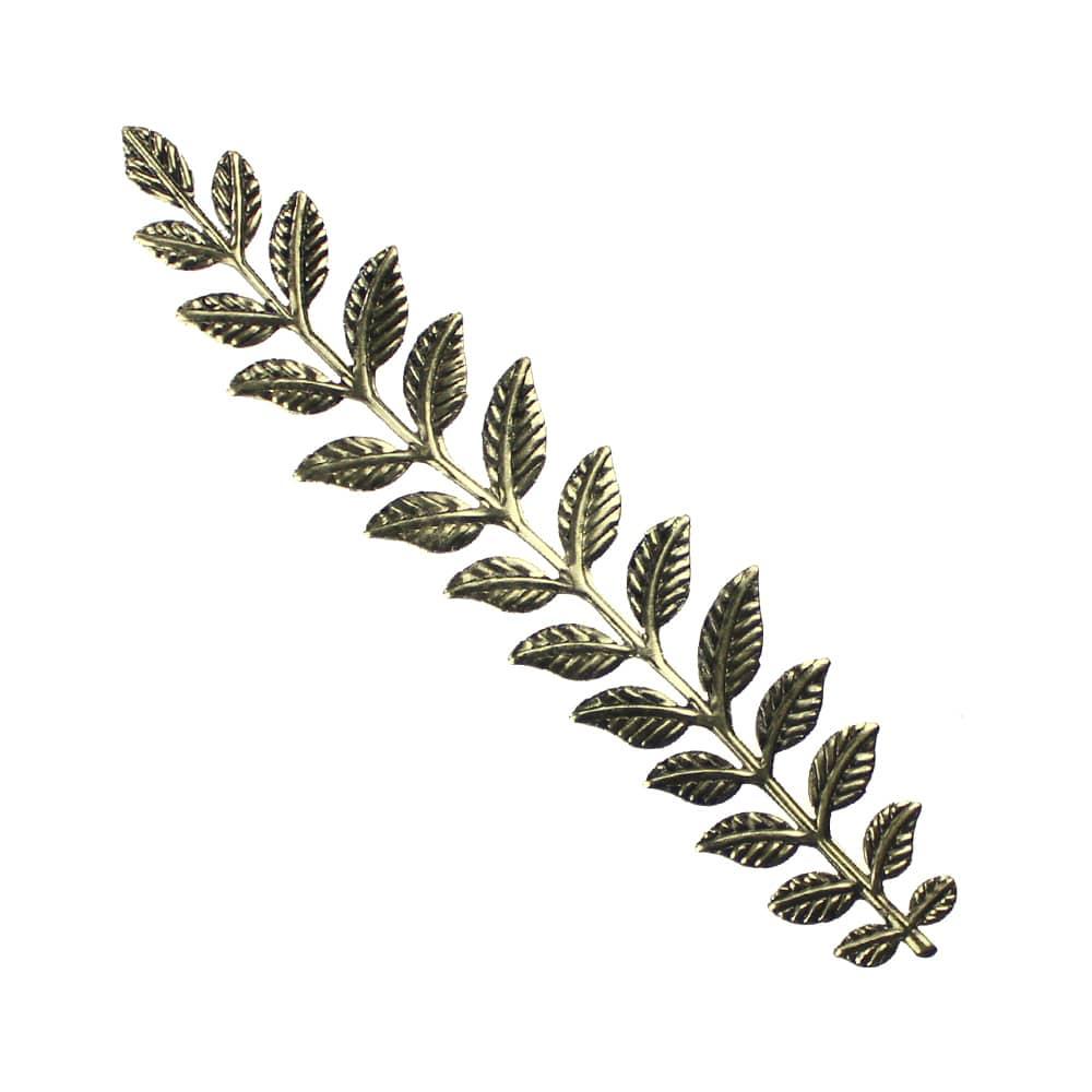 rama con hojas de laton xxl oro viejo