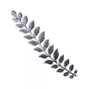 rama con hojas de laton xxl plata