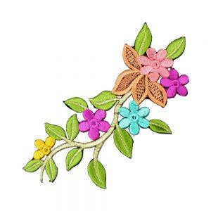 rama flor bordada multicolor