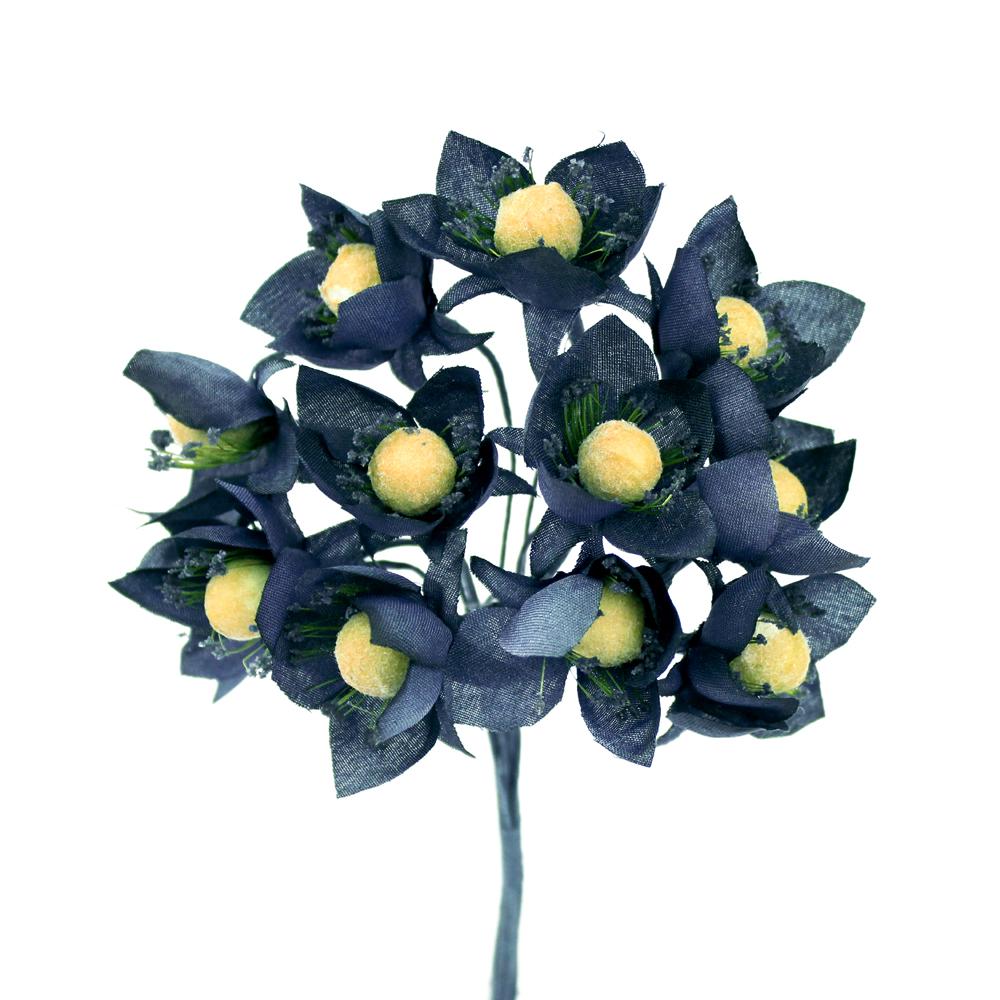 ramillete 12 flores 10×8 cm azul marino