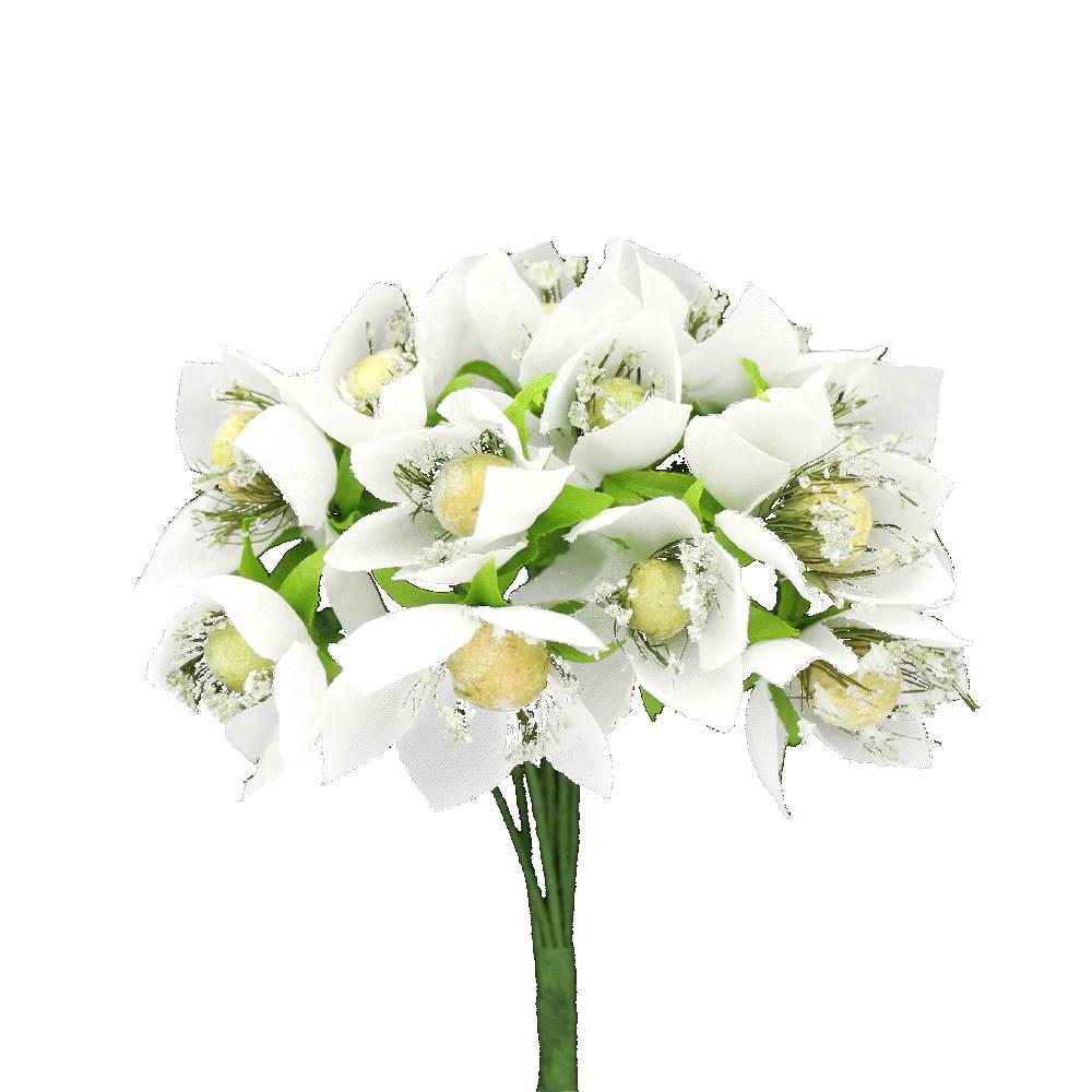 ramillete 12 flores 10×8 cm blanco