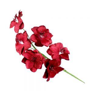 ramillete 6 flores terciopelo granate