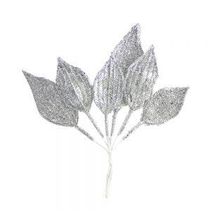 ramillete 6 hojas lurex plata