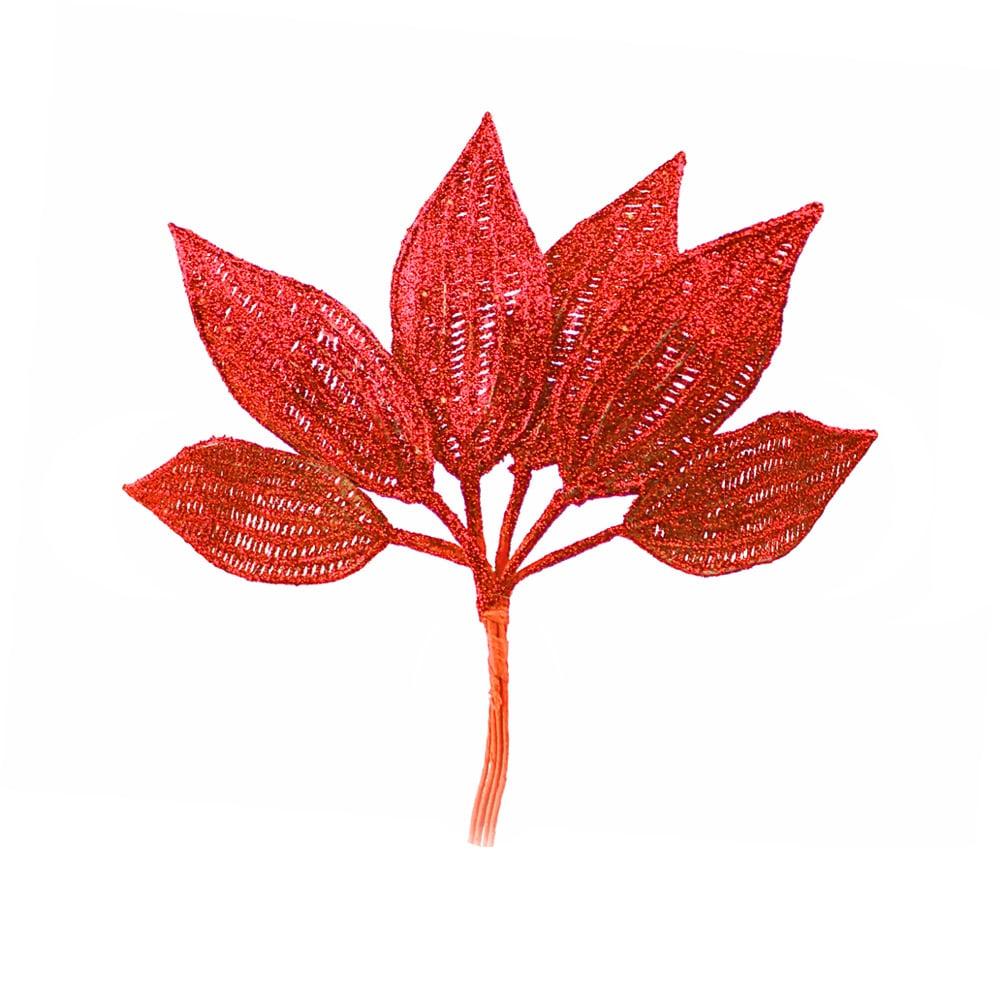 ramillete 6 hojas lurex rojo