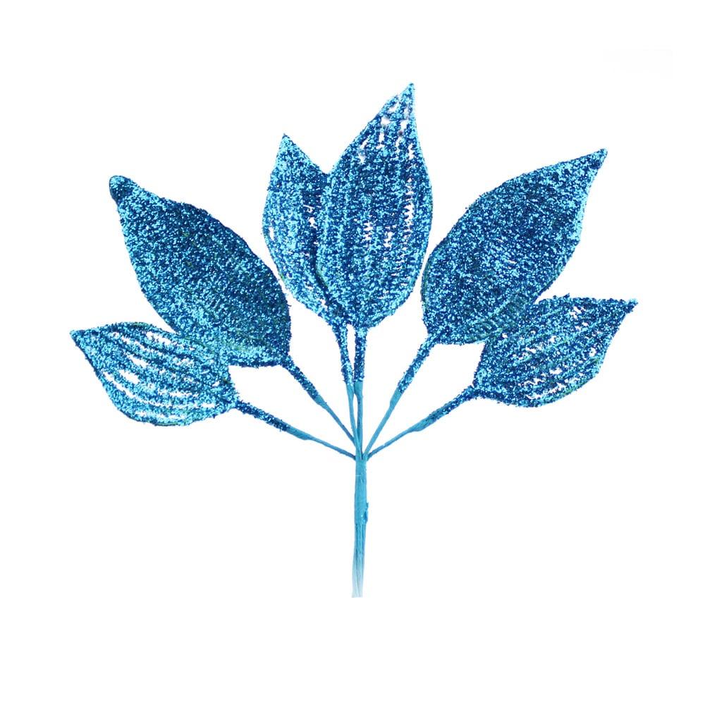 ramillete 6 hojas lurex turquesa