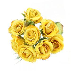 ramillete 8 rosas papel yute amarillo