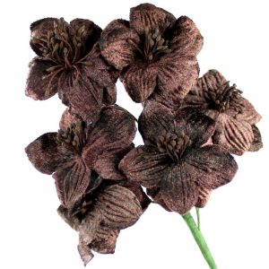 ramillete flores de terciopelo marrón