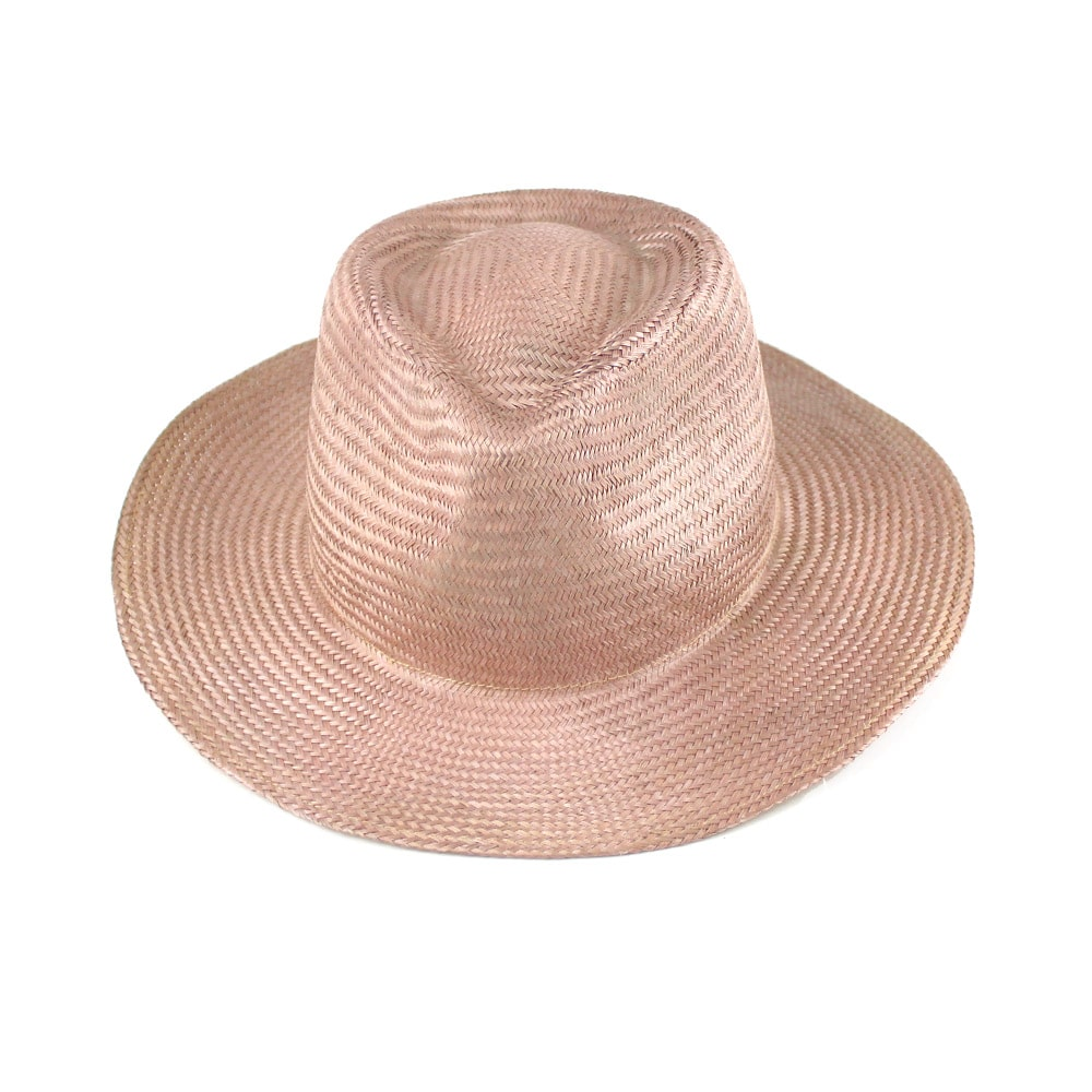 sombrero fedora buntal rosa nude