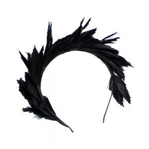 tiara de pluma susan negro 3