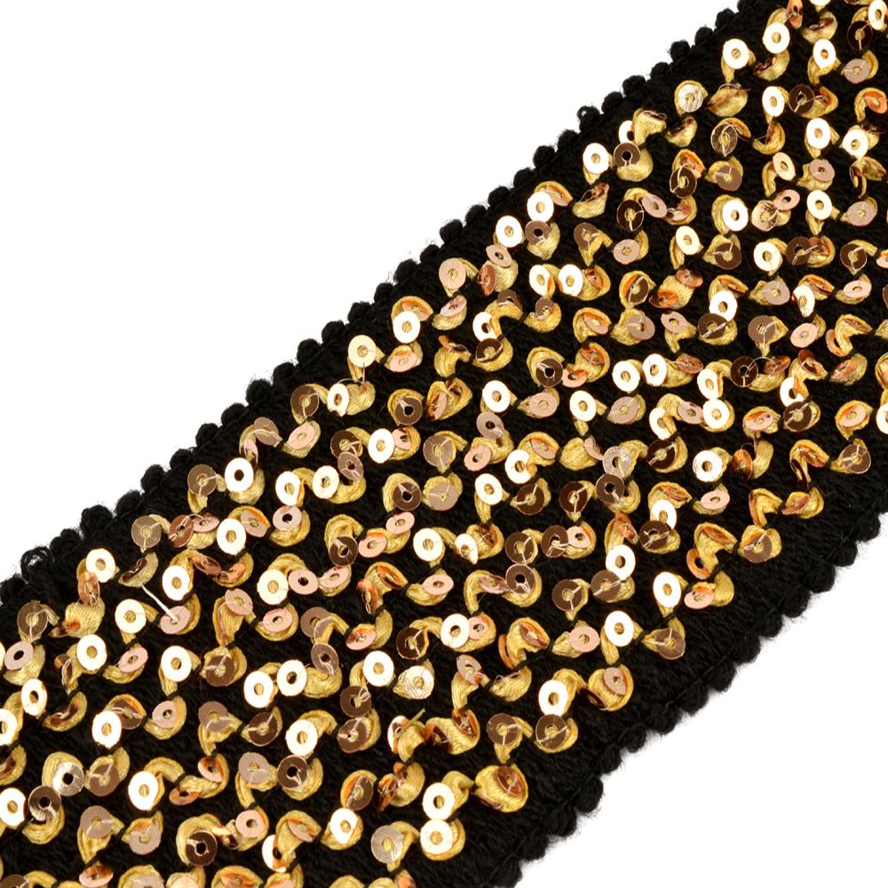 tira elástica 7 filas lentejuela oro