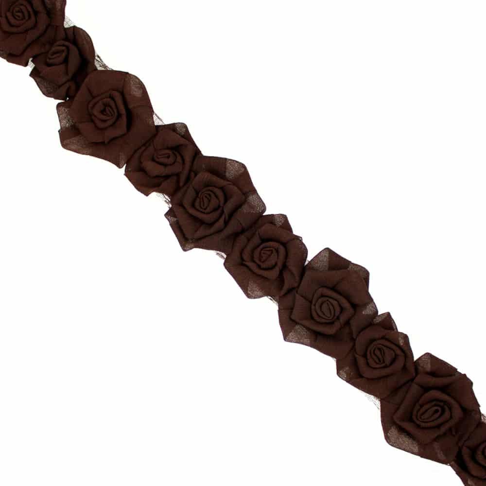 tira flores organza 7 cm ancho chocolate