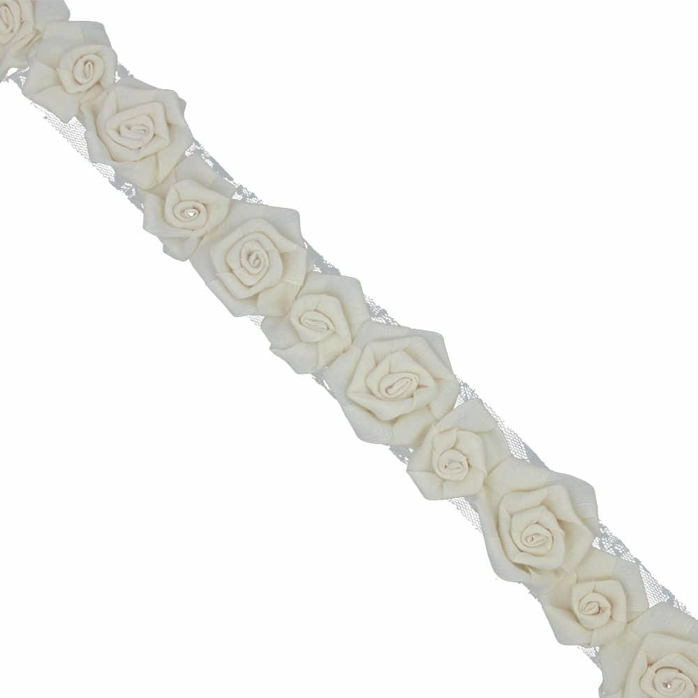 tira flores organza 7 cm ancho crudo