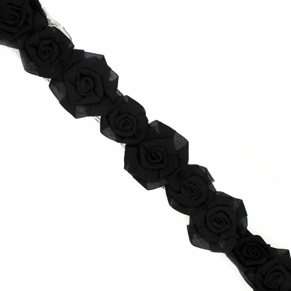 tira flores organza 7 cm ancho negro