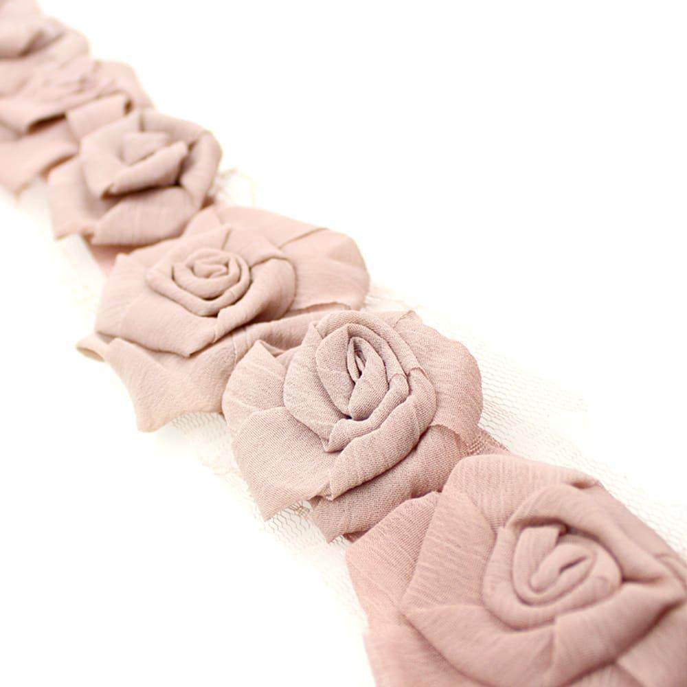 tira flores organza 7 cm ancho rosa nude 2