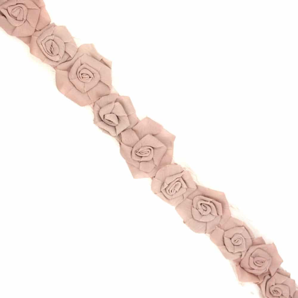 tira flores organza 7 cm ancho rosa nude