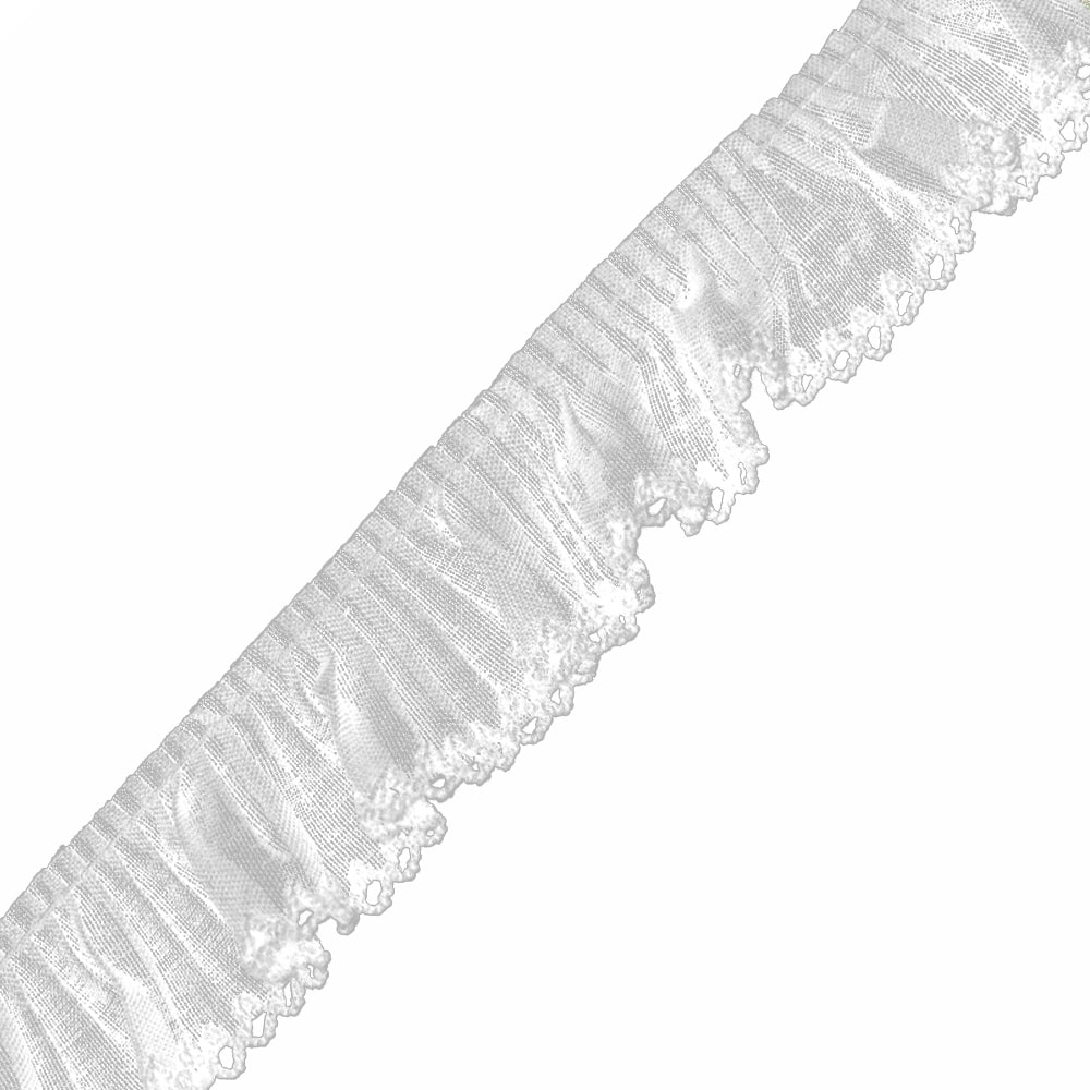 tira ganchillo plisado 3 cm blanco
