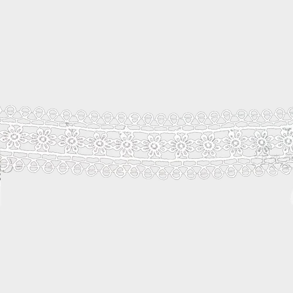 tira guipur flores 28 mm blanco