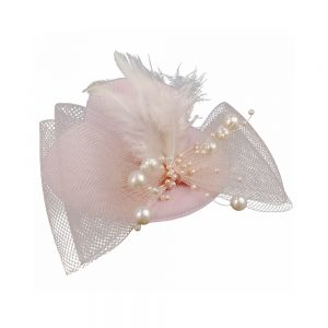 tocado mini sombrero rosa nude