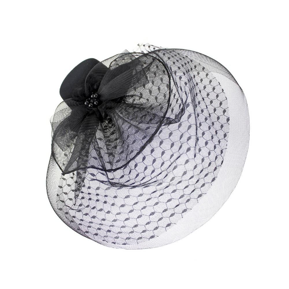 tocado sombrero perlas negro 2