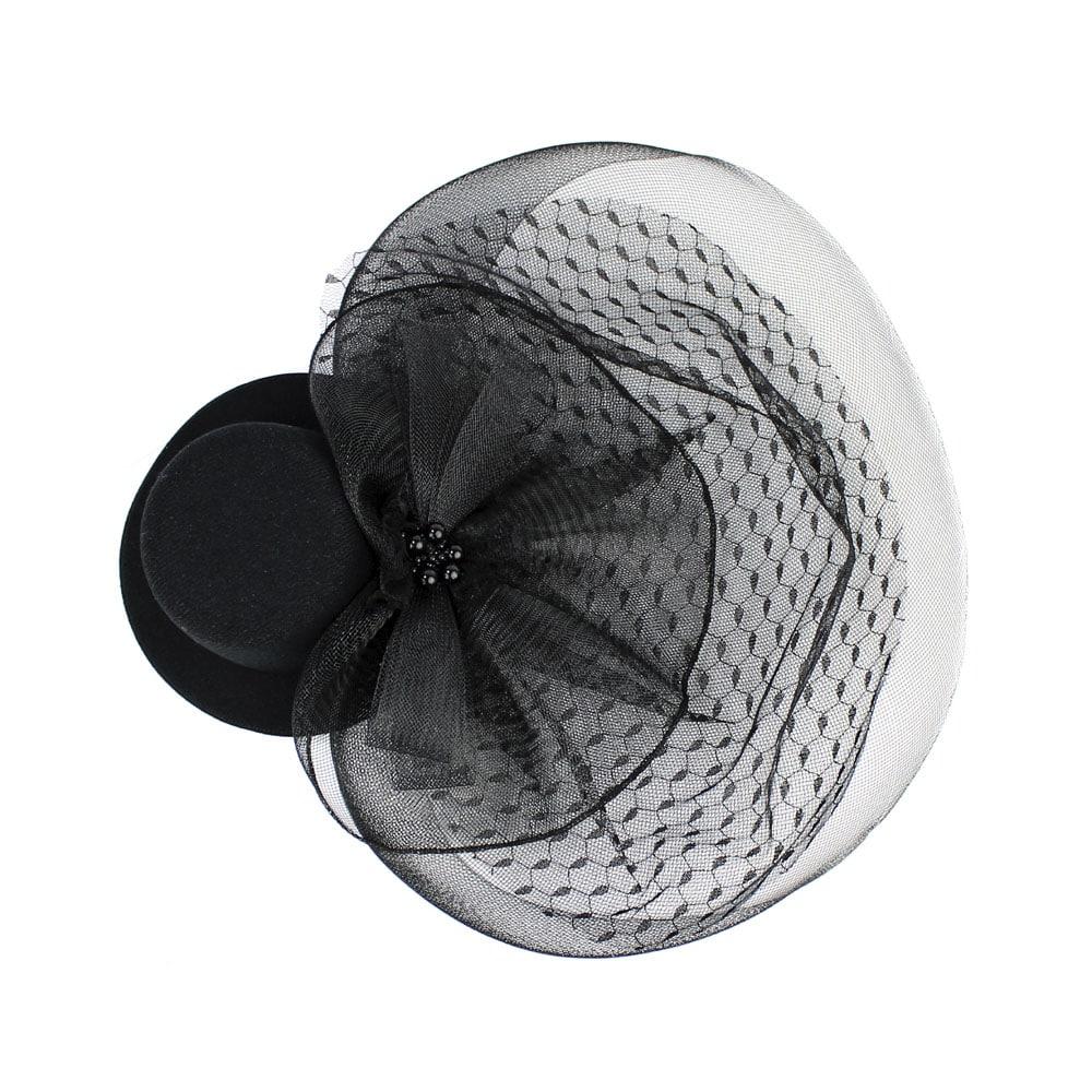 tocado sombrero perlas negro 3