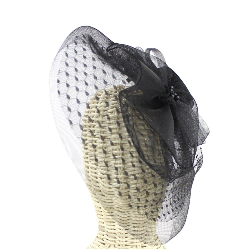 tocado sombrero perlas negro