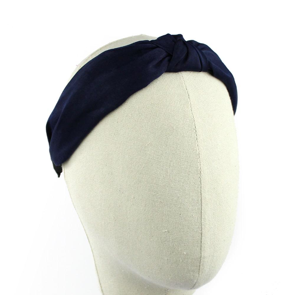 turbante diadema seda azul marino