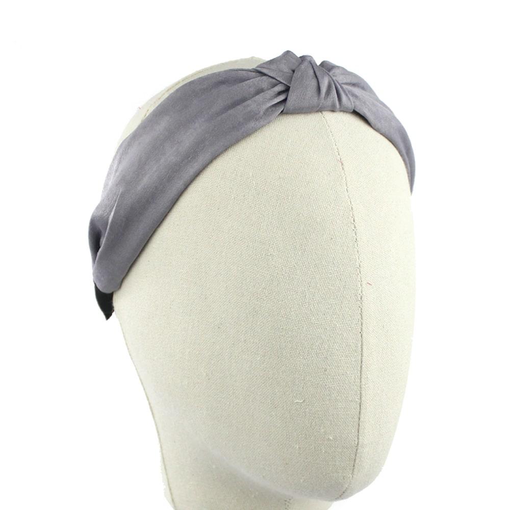 turbante diadema seda gris medio