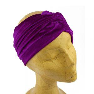 turbante terciopelo abierto alta calidad morado