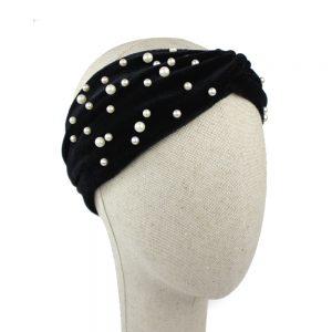 turbante terciopelo perlas negro