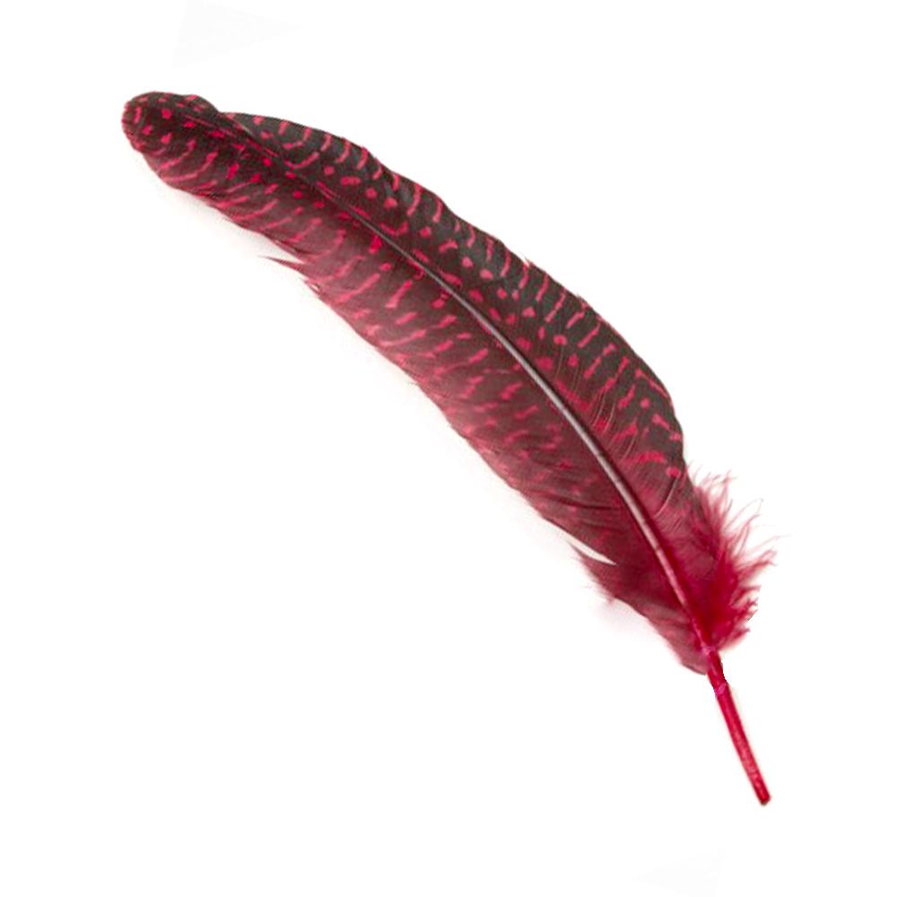 Bolsa Plumas Guinea 20 cm rojo