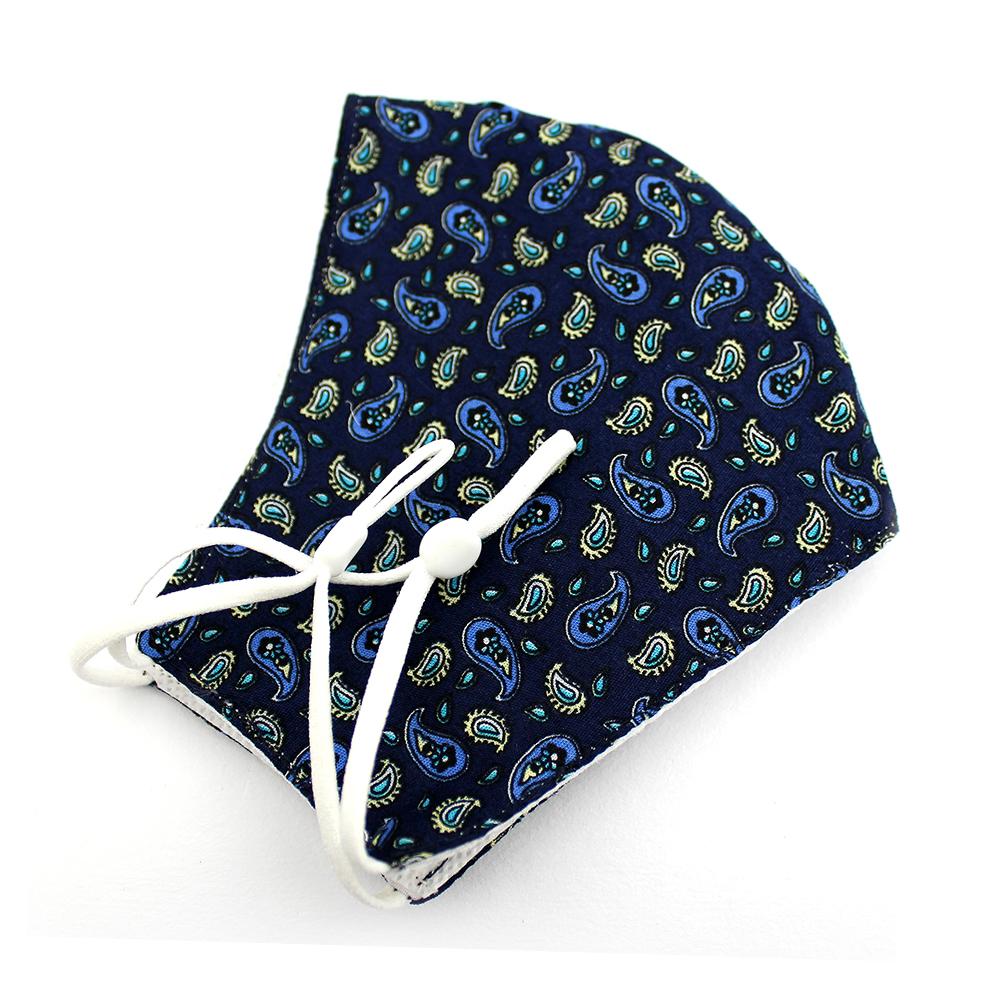 Mascarilla de tela redonda cachemir azul y jade