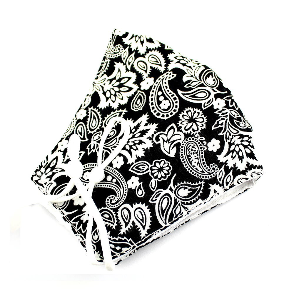 Mascarilla de tela redonda cachemir negro y blanco