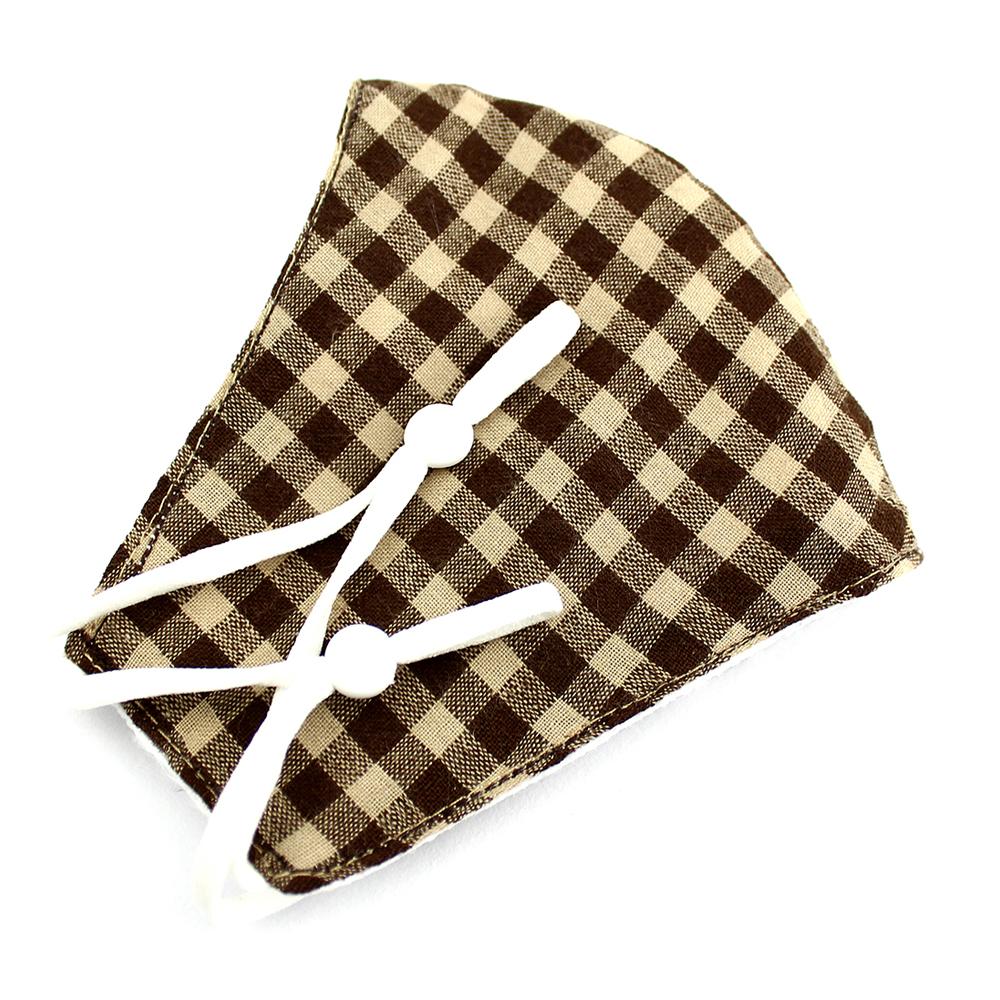 Mascarilla de tela redonda cuadros marrón y beige