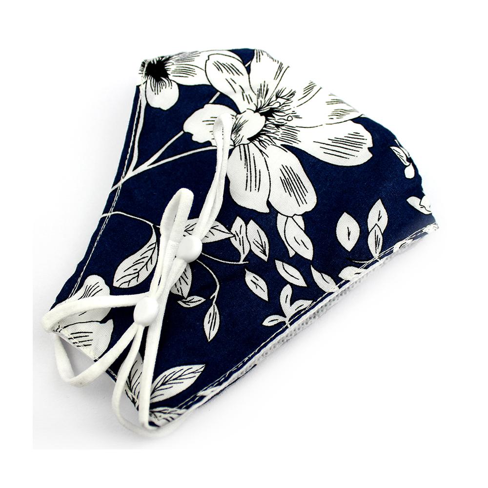 Mascarilla de tela redonda floral azul marino y blanco