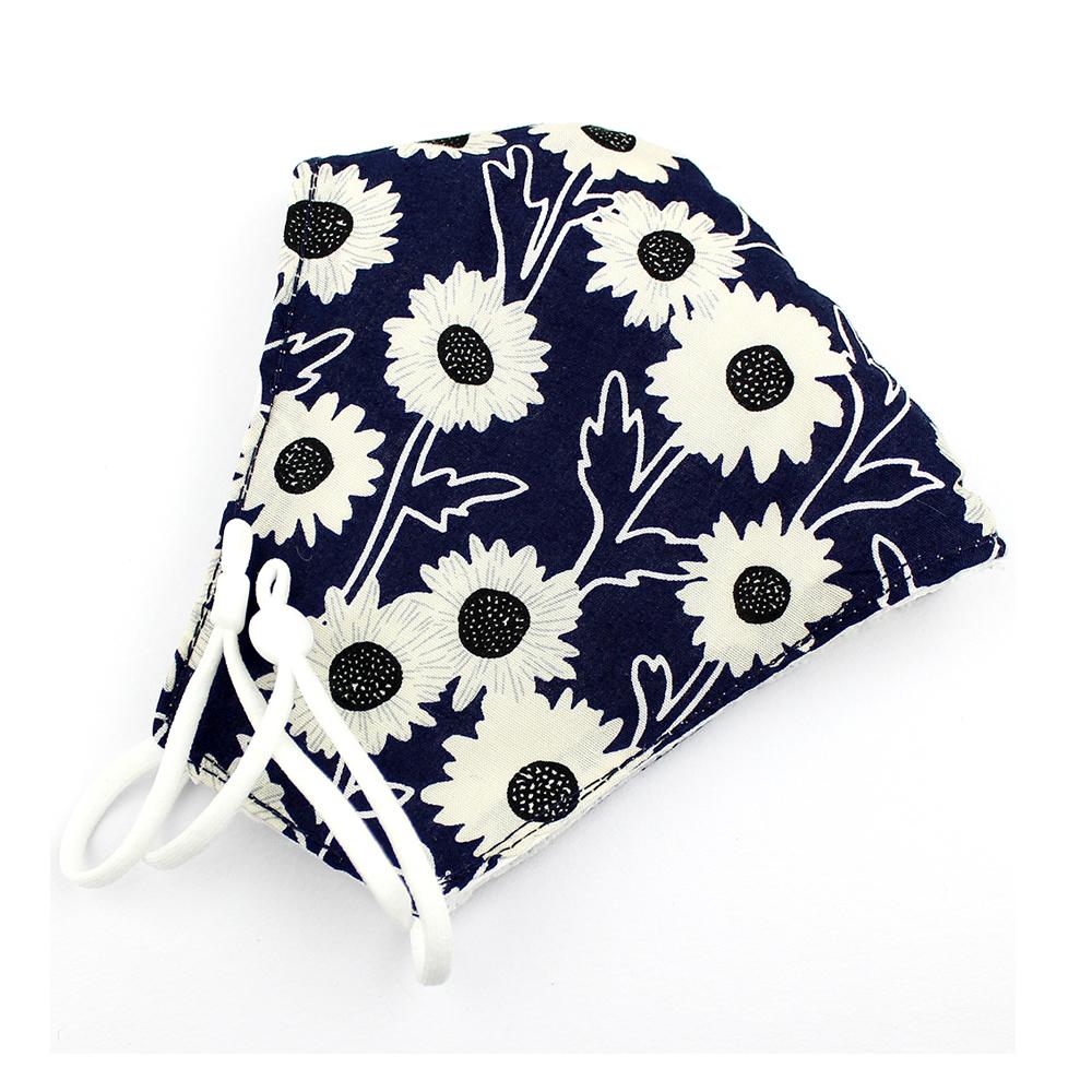 Mascarilla de tela redonda floral azul marino