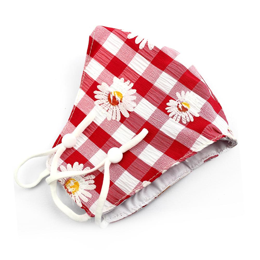 Mascarilla de tela redonda floral blanco rojo