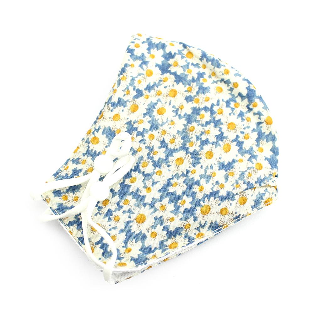 Mascarilla de tela redonda floral celeste y amarillo