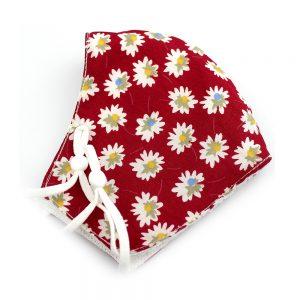 Mascarilla de tela redonda floral granate