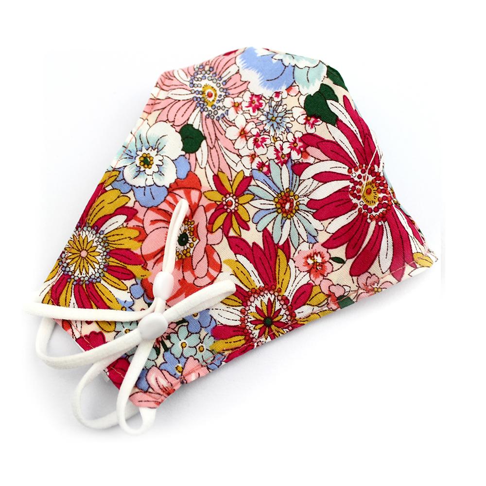 Mascarilla de tela redonda floral rojo cereza