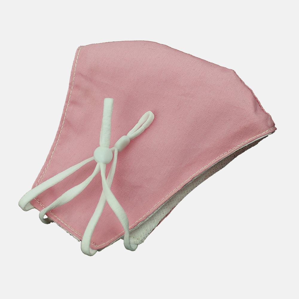 Mascarilla de tela simétrica liso rosa palo