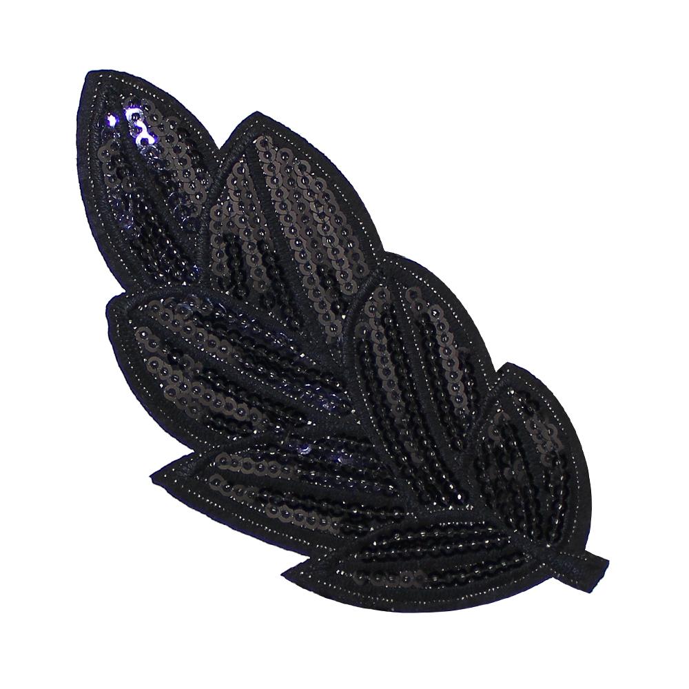 Aplicación hoja de lentejuelas termoadhesiva negro
