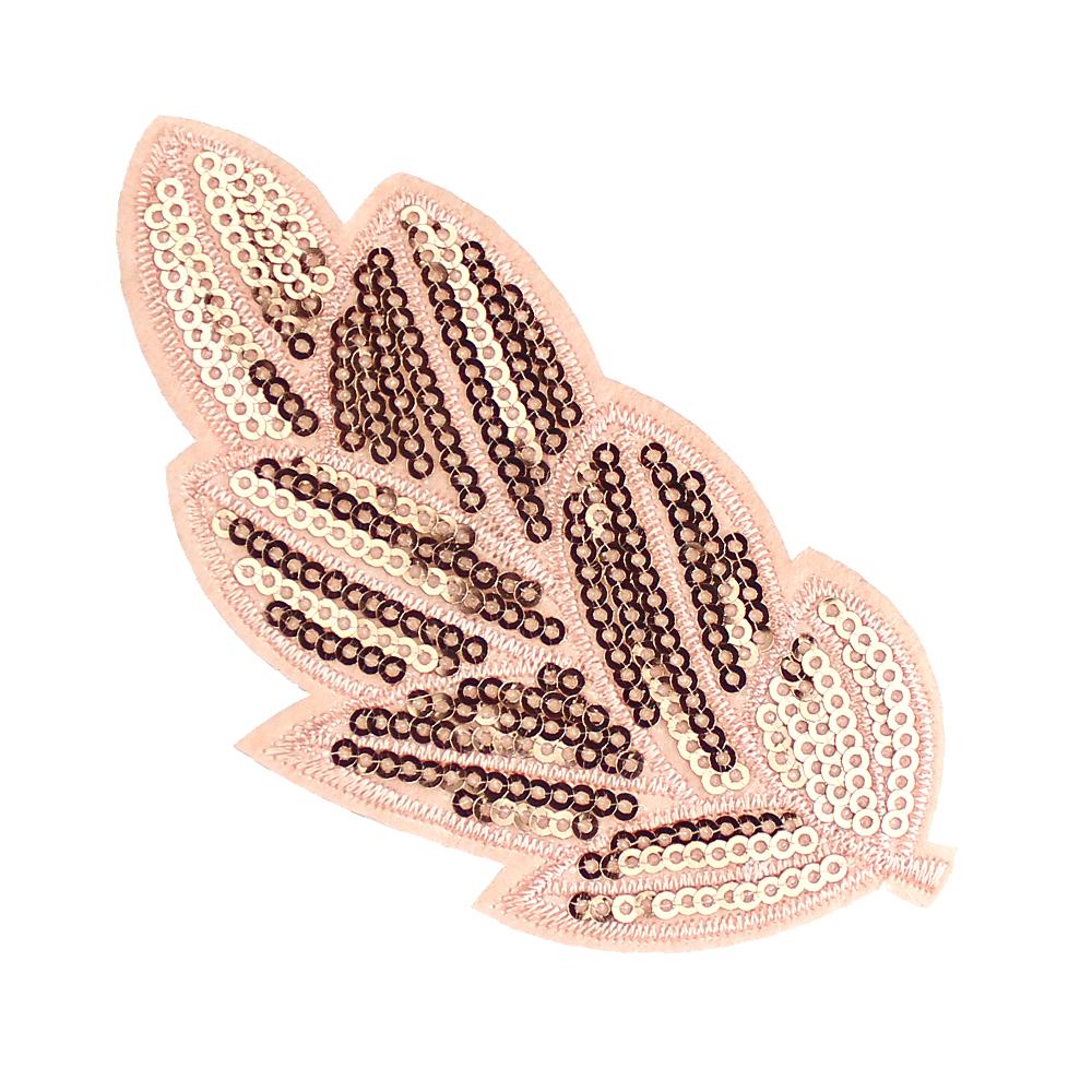 Aplicación hoja de lentejuelas termoadhesiva rosa nude