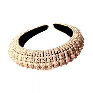 Diadema turbante de perlas rosa nude II