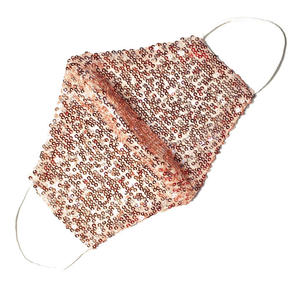 Mascarilla de tela con lentejuelas rosa palo 2