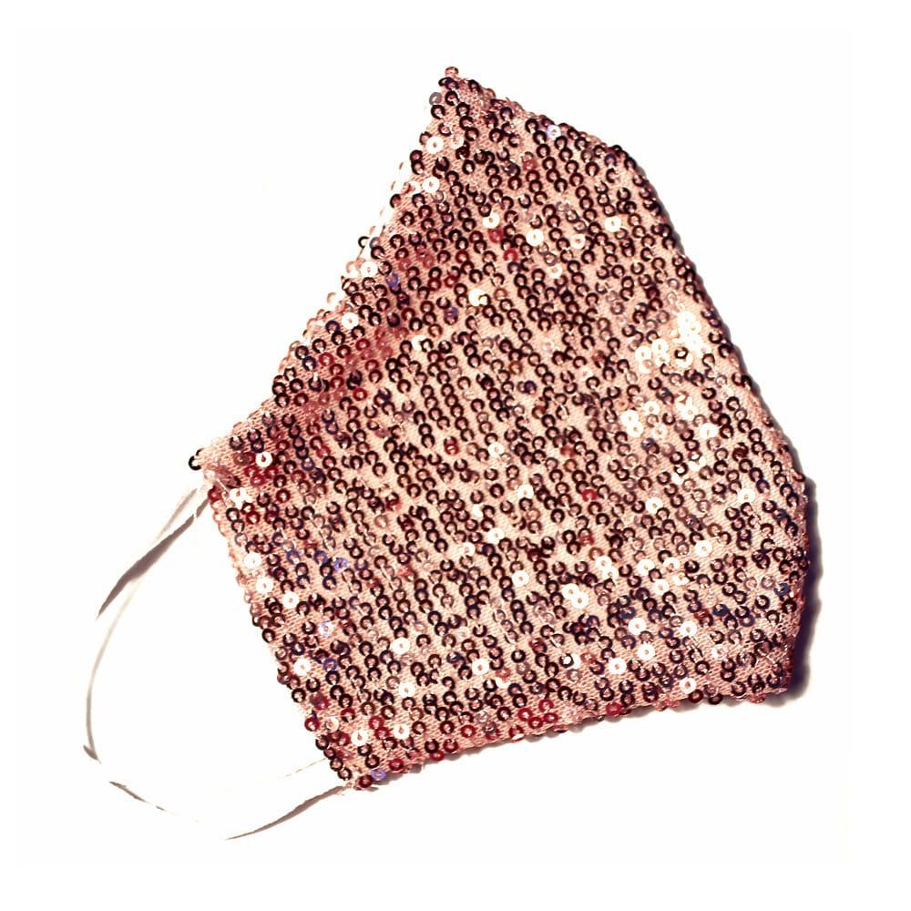 Mascarilla de tela con lentejuelas rosa palo