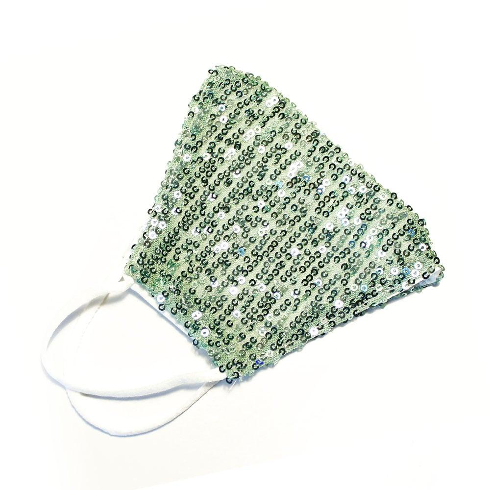 Mascarilla tela lentejuelas verde agua