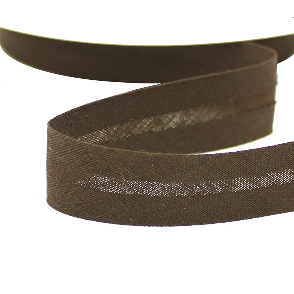 cinta bies de algodon 18 mm chocolate